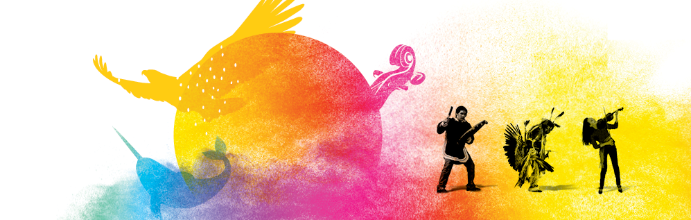 Multicoloured drawing with a blue narwhal, yellow eagle, and pink violin all flying out of an orange sun and beside it, three Indigenous people: one beating a drum, one dancing, and one playing a violin.