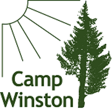 Camp Winston logo with a quarter of the sun shining down on a pine tree
