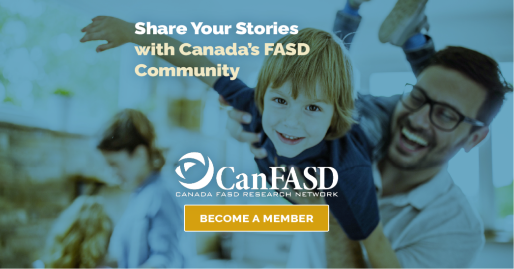 """father picking up child in the air with text """"share your stories with Canada's FASD community: become a member"""" on top."""
