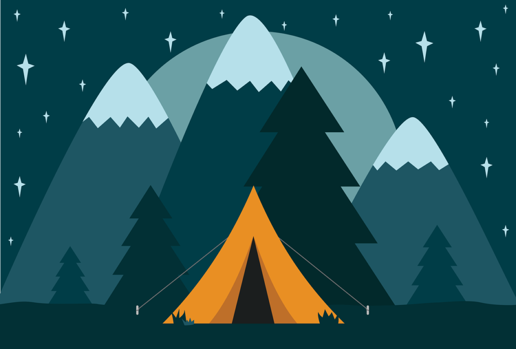 Graphic of orange tent opened with pine trees and mountains behind, centred in front of a starry sky with a rising moon.
