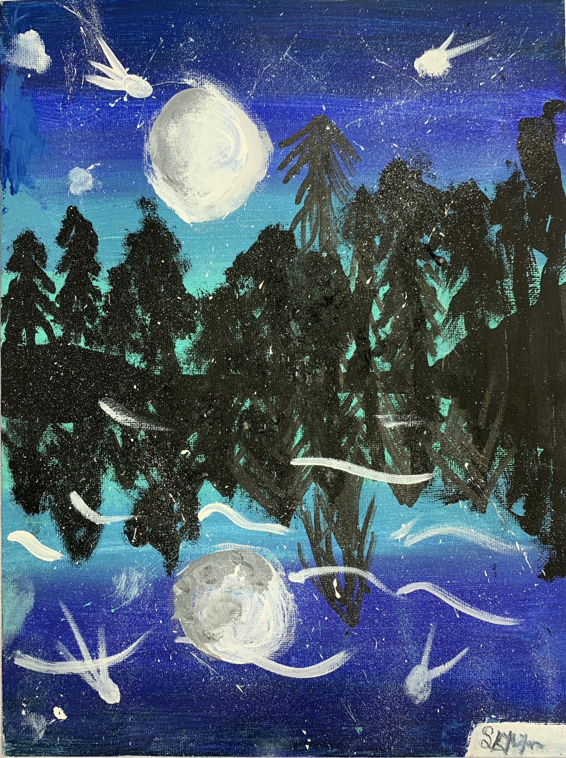 painting of pine trees and stars reflected on a lake at night